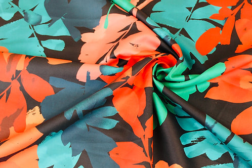 100% Cotton Fabric. Floral Lizzano Design in Coral & Teal on a Black Background.