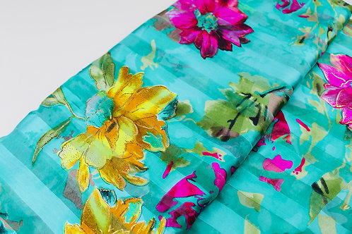 Polyester Chiffon Fabric. Large Decorative Florals in Contrasting Pink & Yellow.