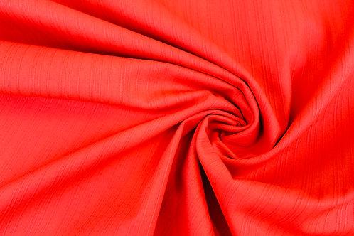 Cotton Elastane Shadow Stripe Mix Fabric in Bright Red.