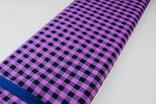 Cerise Pink/Black,  Small Checked Fabric. Lightweight, Woven Medium Drape Fabric