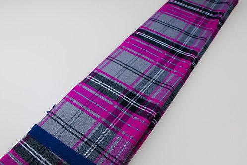 Polyester Viscose Mix Fabric. Woven Tartan Check in Cerise, Grey, Black & White.