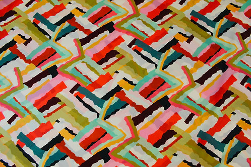 100% Polyester Fabric. Coral Hermione Design with a Variety of Abstract Zig-Zags