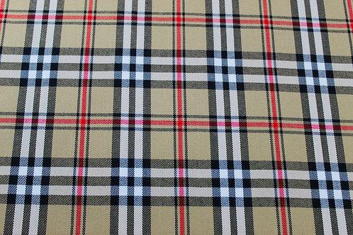 Burberry Tartan Checked Fabric. Medium Weight, Soft Drape, Woven Camel