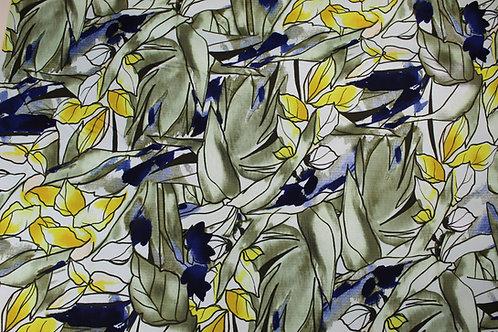 Cotton Elastane Mix Fabric. Striking Leaf Print in Sage, Primrose Yellow & Navy.