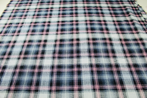 Pink, Grey and Black Woven Checked Fabric. Soft Drape, Lightweight, Stretch