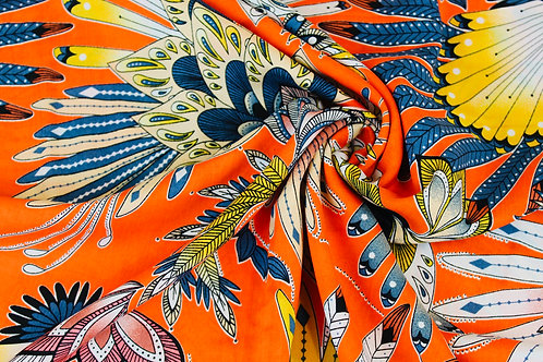 100% Viscose Fabric. Carnival Inspired Design with Blue & Gold Feathers.