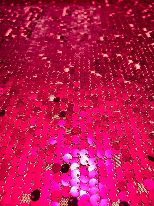 Raspberry Net Fabric. Heavily Embellished with Shiny Metallic Raspberry Sequins.