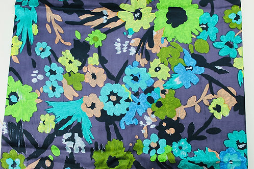 Polyester Satin Fabric. Green/Turquoise Flowers on a Chocolate Brown Background.