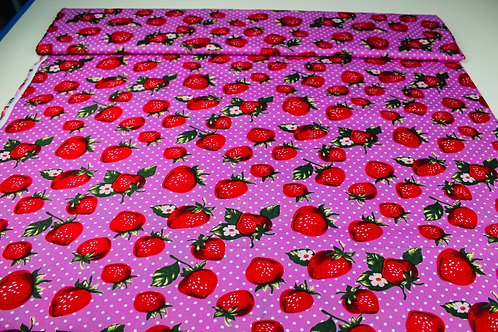 100% Cotton Fabric. Red Strawberries & White Florals on a Candy Pink Background.