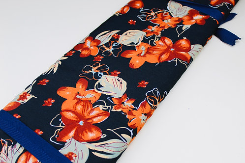 100% Polyester, Printed, Rich Orange and Green Leaves on Black Background