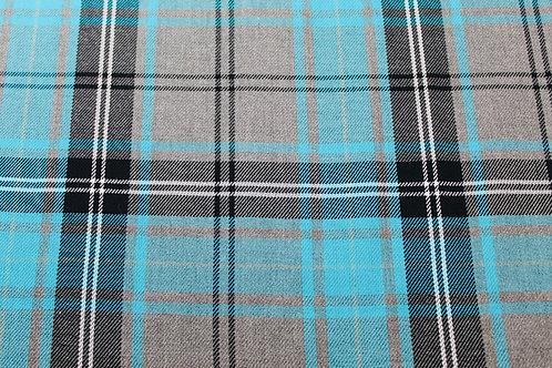 Tartan Checked Fabric. Medium weight, Soft Drape, Woven Fabric. Turquoise Blue