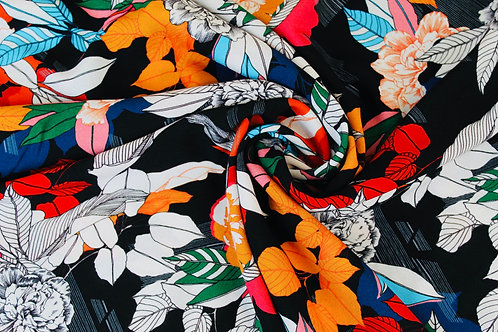 Multicolour Fernando Crepe de Chine Fabric with a Variety of Striking Florals.