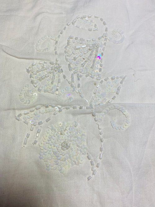 Ivory White Cotton Fabric. Embellished & Beaded with Iridescent White Sequins.