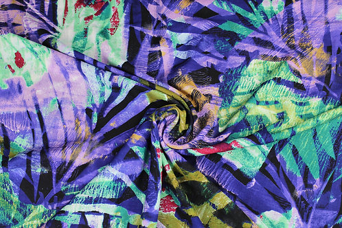 100% Viscose, Multicoloured, Summer Tropical Leaf Design Fabric, Light Weight