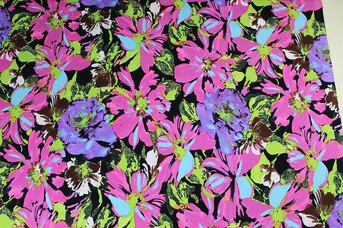 Stretch Polyester Elastane Mix Fabric. Striking Florals in Pink, Purple & Green.