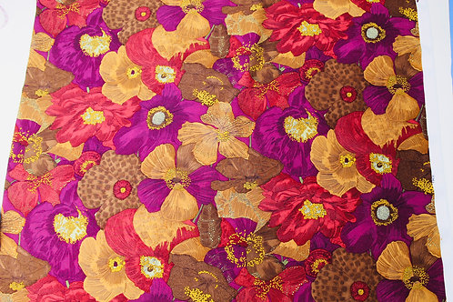 100% Silk Fabric, Colourful, Soft Drape Floral Fabric. Shades of Mulberry Ochre