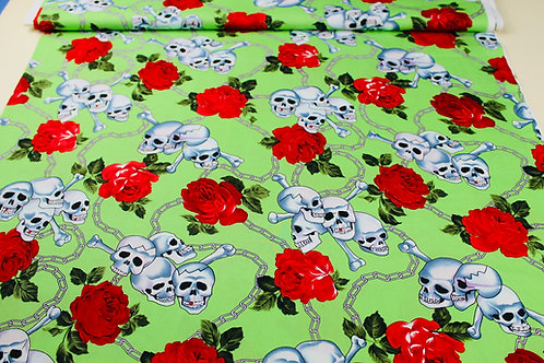 100% Cotton Fabric. White Grinning/Smiling Skulls & Crossbones with Bold Florals