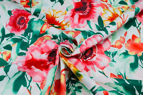 Polyester Cotton Mix Fabric. Large Red Poppies & Green Leaves Repeat Print.