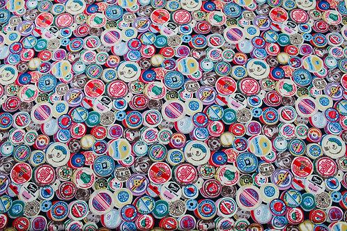 100% Cotton Fabric. Colourful Vintage Cotton Reel Repeat Print Design.