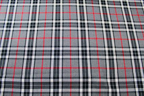 Tartan Checked Fabric. Medium Weight, Soft Drape, Woven Fabric. Grey, Black, Red