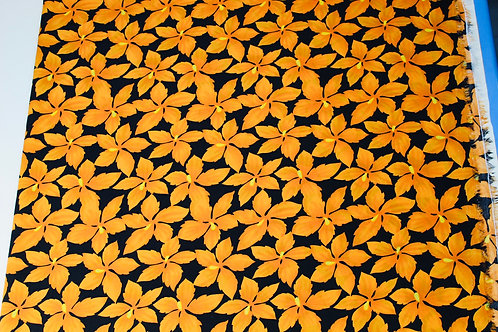 100% Polyester Fabric. Vibrant Orange Clematis Flower Repeat Print.