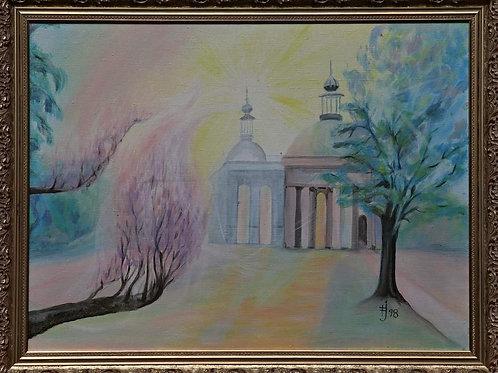 Magnolie 1998 akryl na plátně 90 x 60 cm rámováno zlatým rámem N1077