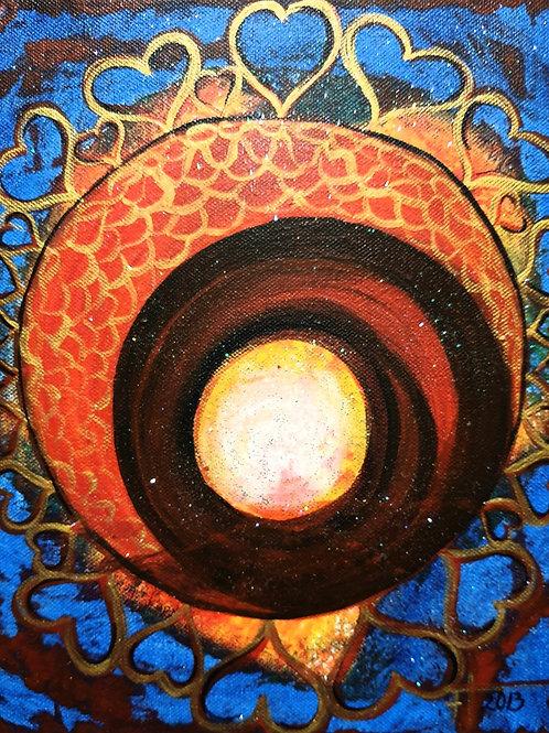 PŘÍMO  DO  SRDCE  2013, akryl na plátně 24x30cm N384