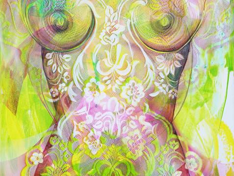 """""""Zelená bohyně"""" 2018 akryl na plátně 100 x 70 cm N724"""