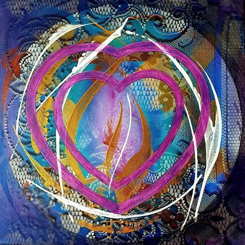 "Elektromagnetické srdce"" 2020 akryl na plátně  40x40cm  N1013"