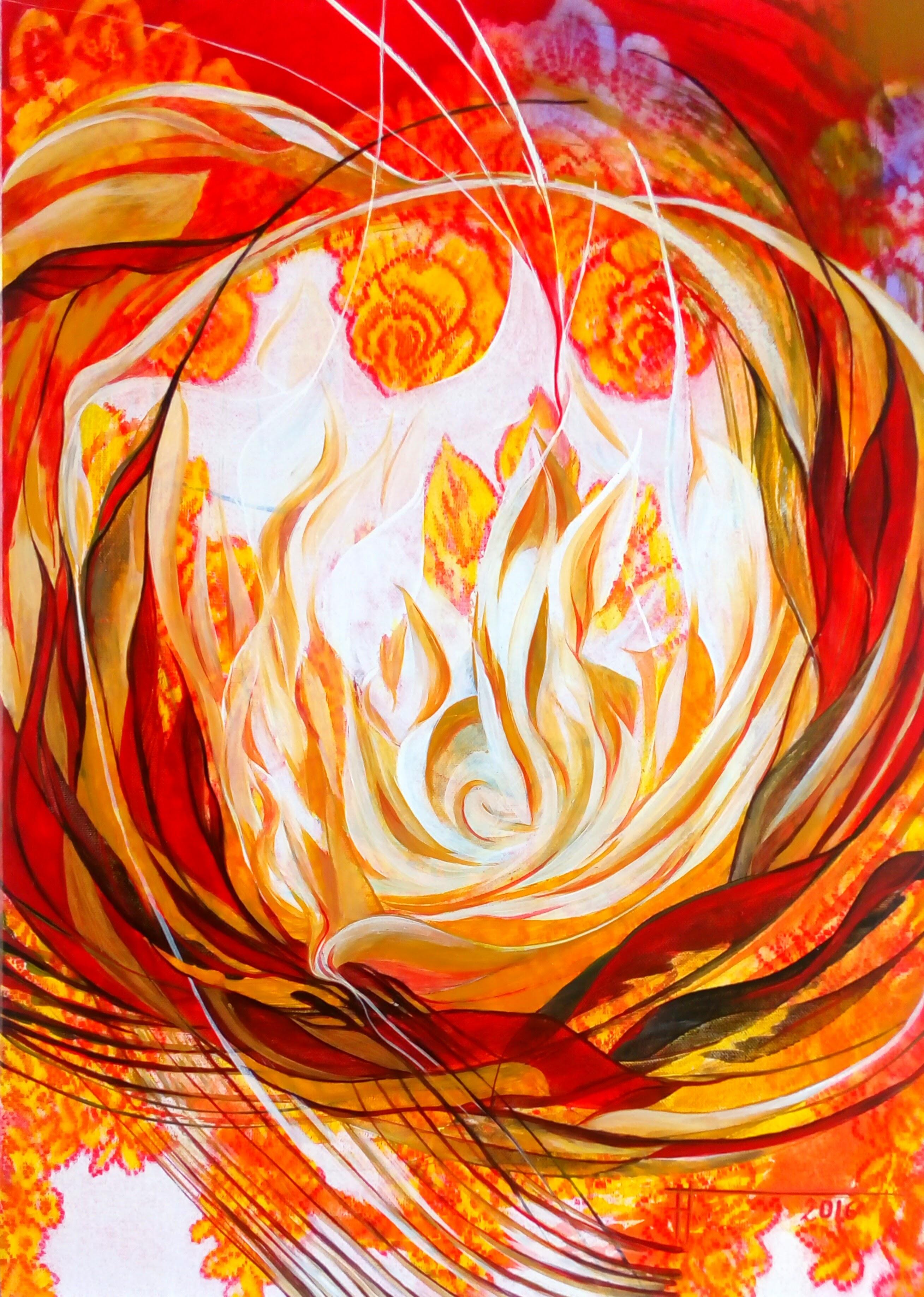 """""""Les Flames de la Rose"""" 2016 acryliq"""
