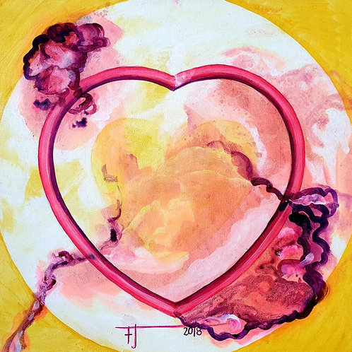 Radostné srdce 9,  2018 akryl na plátně 40 x 40 cm N735