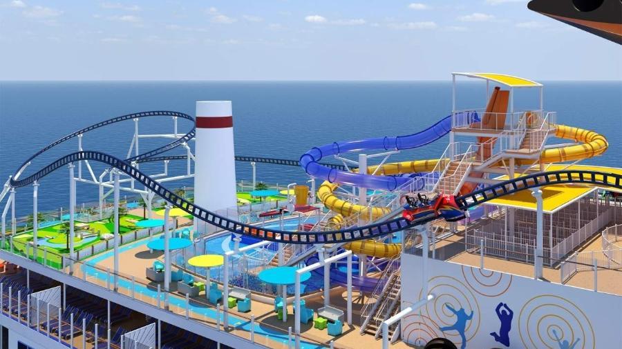 Navio Carnival com montanha russa