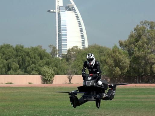 Moto voadora cai em Dubai