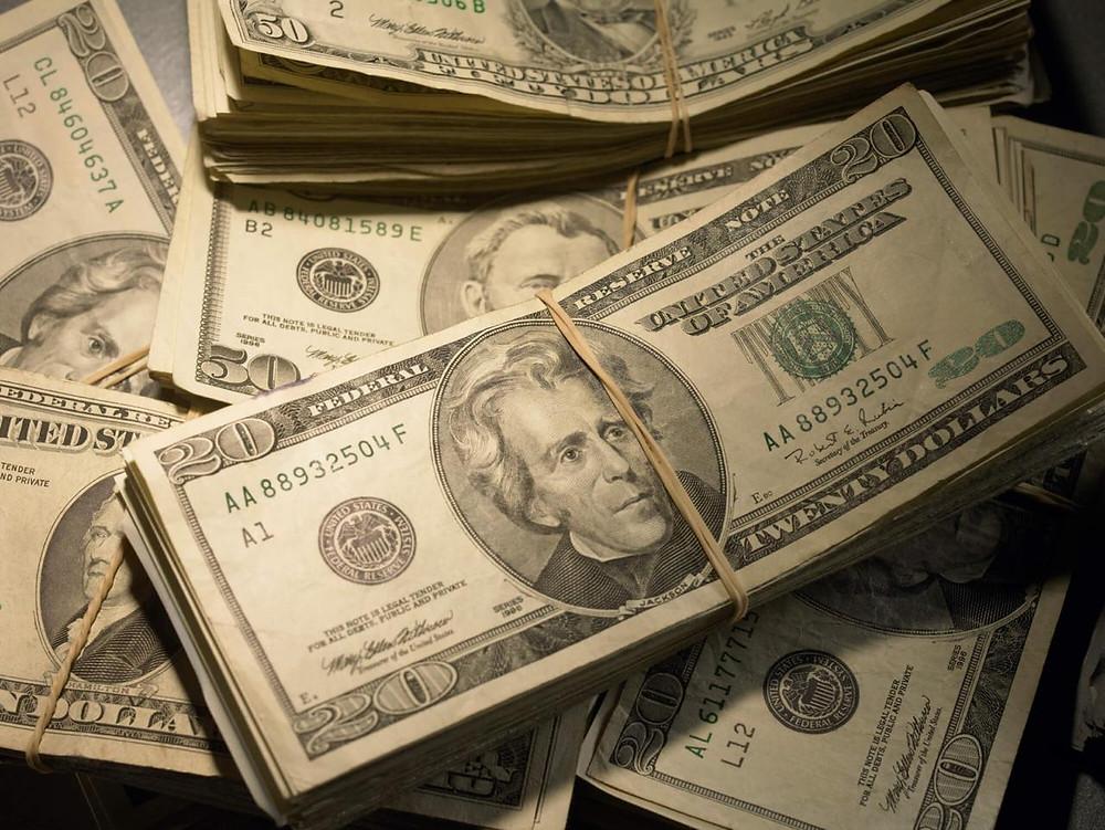 nota de dolares 20 e 50