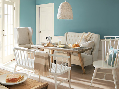 Aegean Teal  by Benjamin Moore really matches our mood