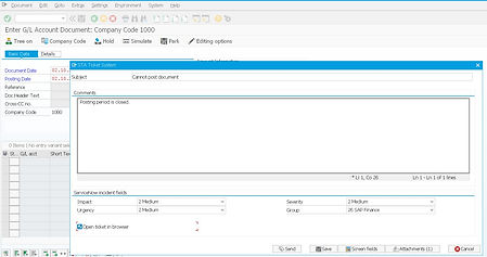 An incident creation from SAP