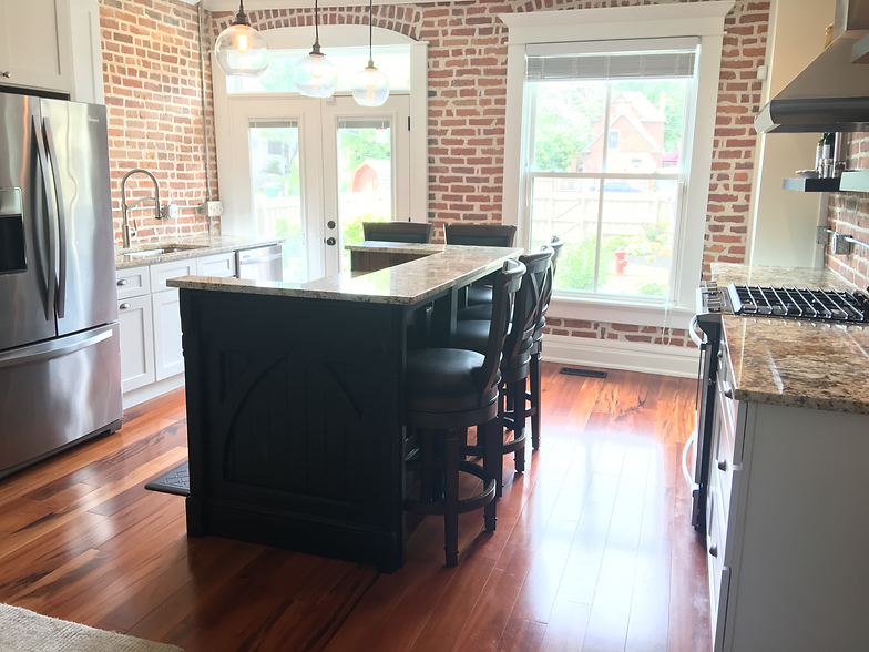 German Village Refinished Salvaged Wainscot Combined With New Custom Island