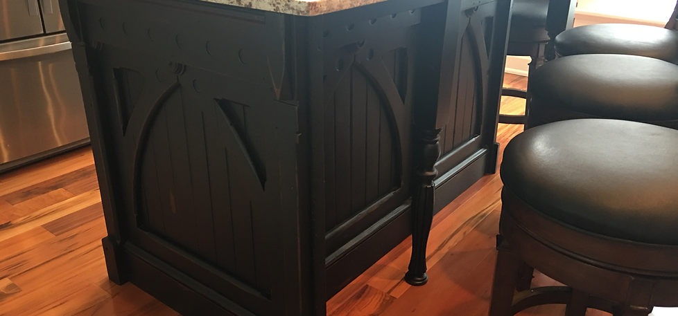Refinished Salvaged Wainscot Panels Combined With New Custom Posts And  Cabinet