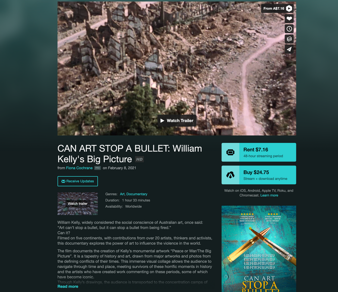 """CAN ART STOP A BULLET"" on VOD"