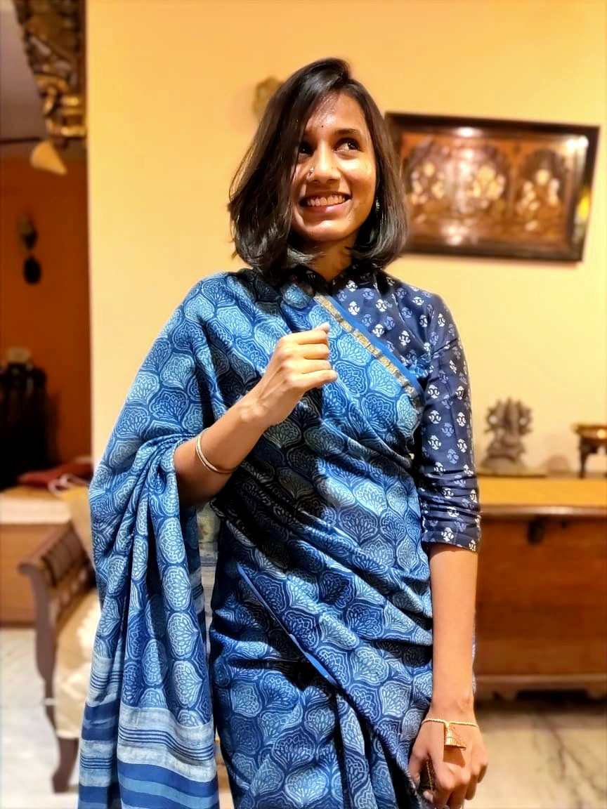 Indigo traditional chanderi saree with blue dabu print long-sleeved blouse