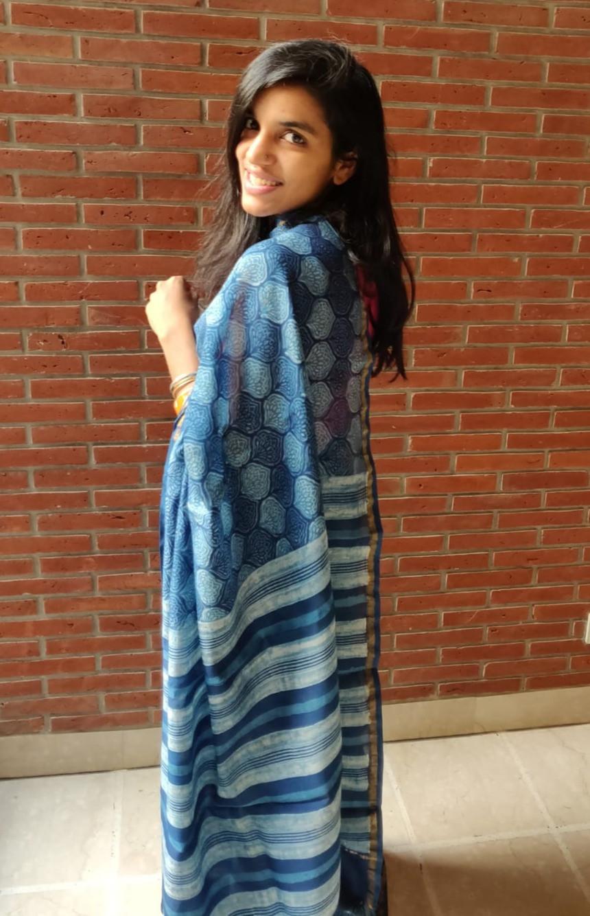 Indigo chanderi cotton-silk dabu printed saree