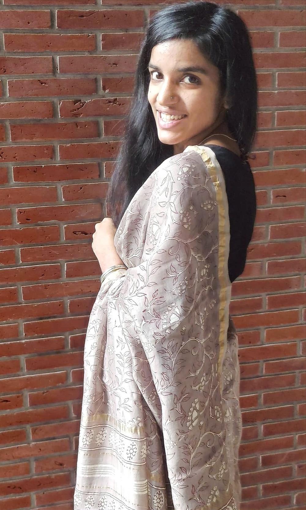 Grey chanderi cotton-silk dabu printed saree
