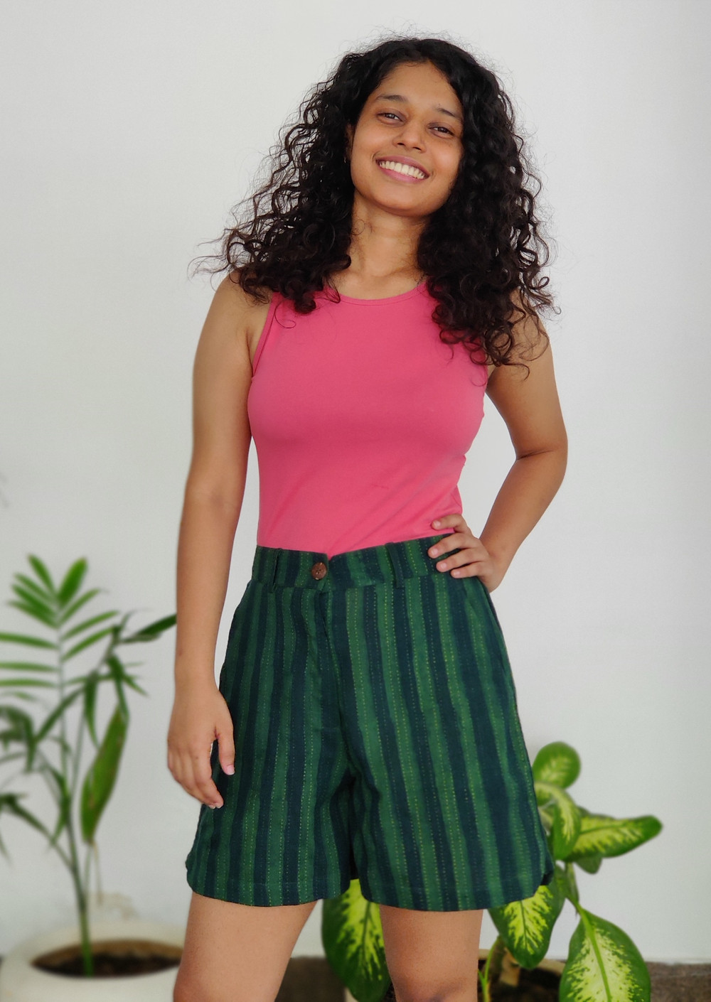 green striped dabu printed shorts