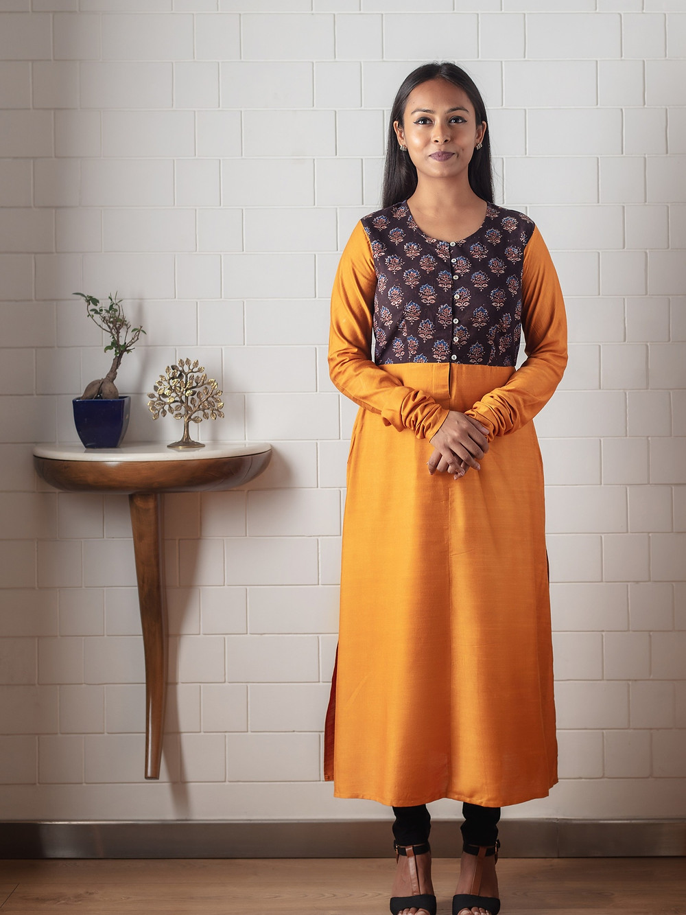 Manjal Chanderi Cotton-Silk Kurta with Ajrakh Panel