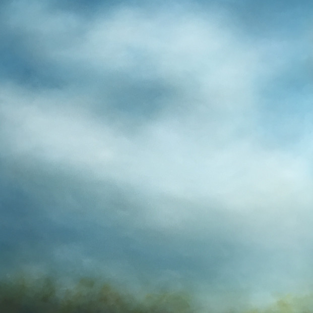 """Misted Landscape 48"""" x 36"""" Oil on canvas $3500 sale"""