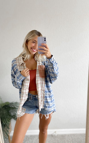 Ready to Fall Flannel- Blue Mix