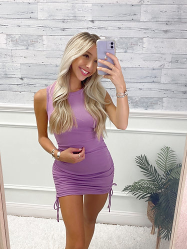 Lilac Ruched Dress