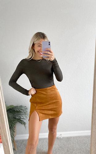 Persuede Me Skirt- Camel