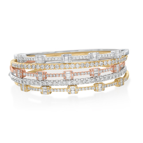 diamond baguette bracelet gold channel bangles aurora bangle white set line