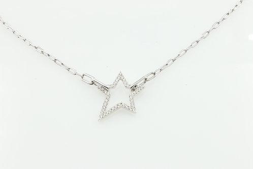 White Gold Diamond Star on Paper Clip Chain